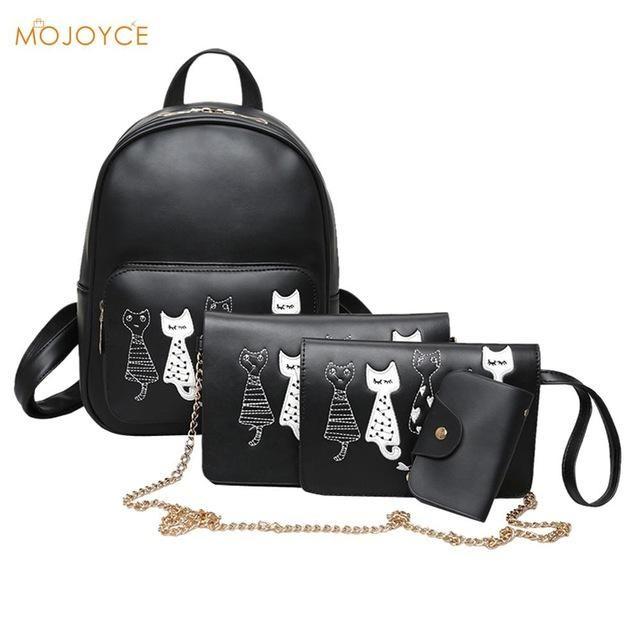 848cc5e2a9 4Pcs Set Small Women Backpacks Female 2017 School Bags For Teenage Girls  Black Women Backpack