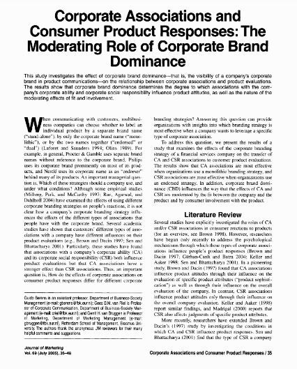 Corporate Associations And Consumer Product Responses The Moderating Role Of Corporate Brand Dominance Consumers Consumer Products No Response