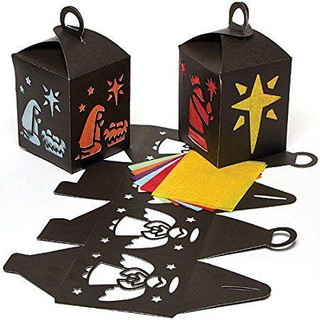 Kit Lanterne Presepe Effetto Vetro Colorato Per Bambini Da