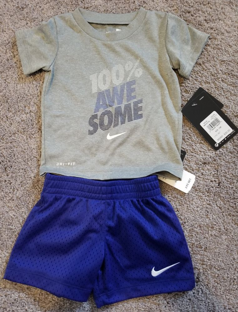 4432839df NWT BLUE & GRAY 2 PIECE SHORT & T-SHIRT SET DRI FIT NIKE 12 MONTH