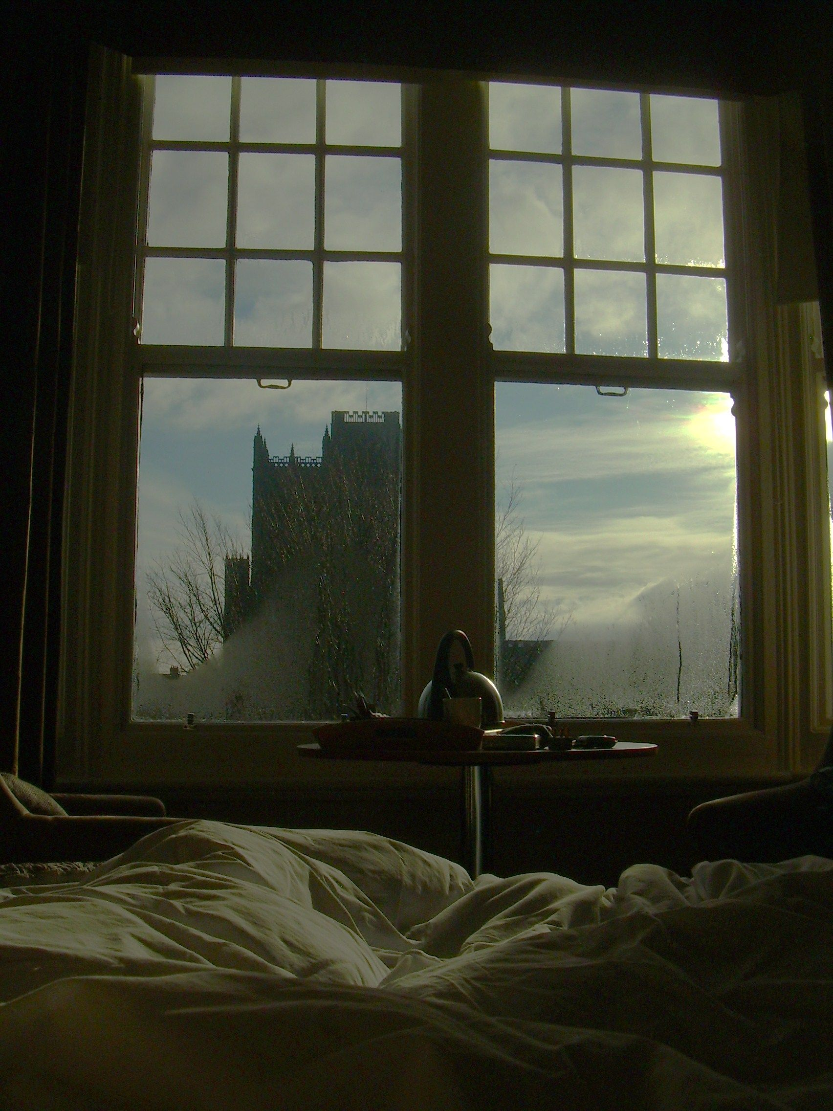 Durham, County Durham, England~Morning, breakfast in bed and a view of the cathedral, with the one I love