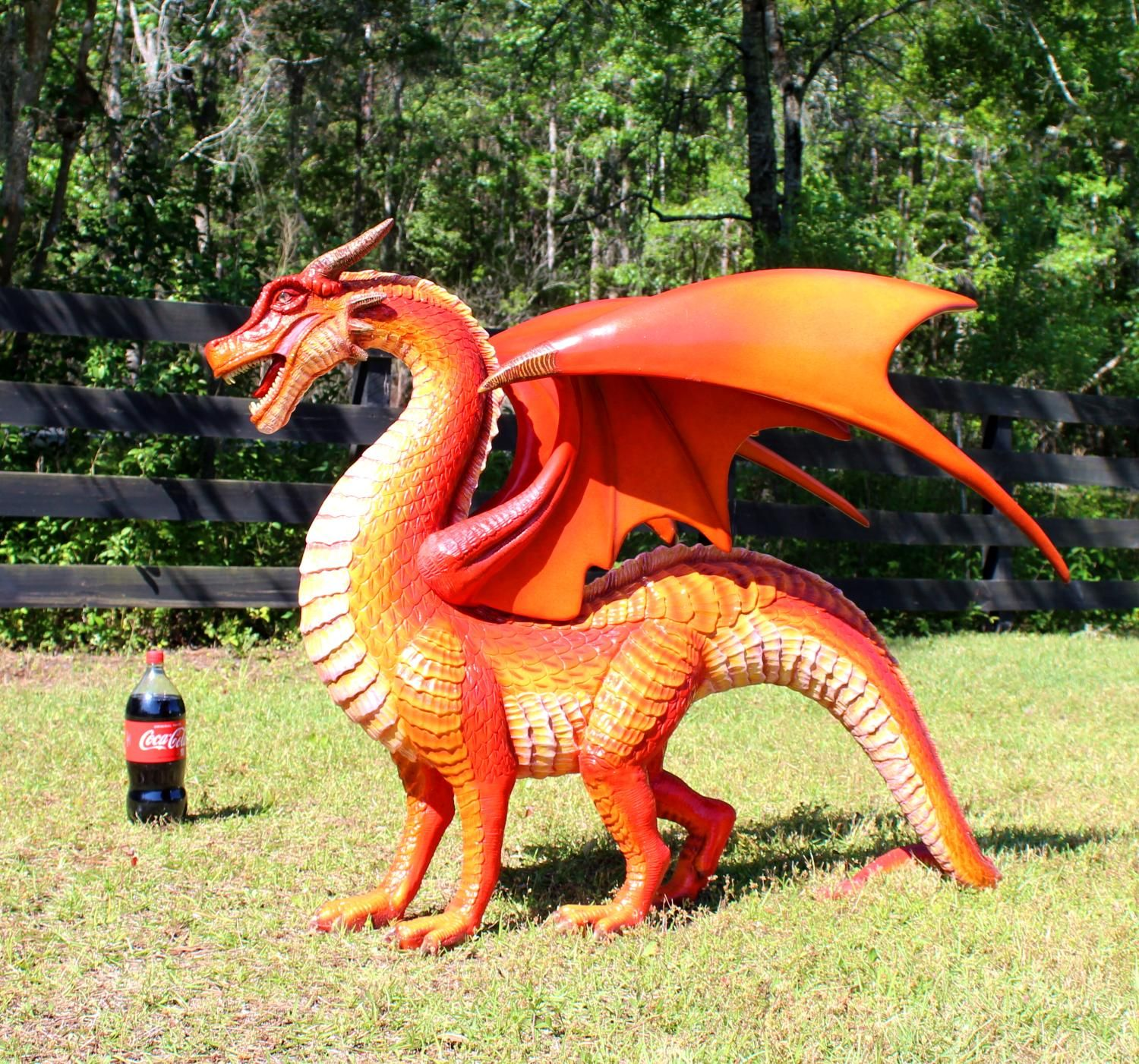 Red Dragon Sculpture Or Statue Wings And Sharp Teeth With Long Tail 51 Inch Long The Kings Bay Dragon Sculpture Dragon Statue Red Dragon