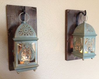 Rustic Owl Lantern Set Wall Decor Bathroom Sconce Hanging Bedroom Kitchen