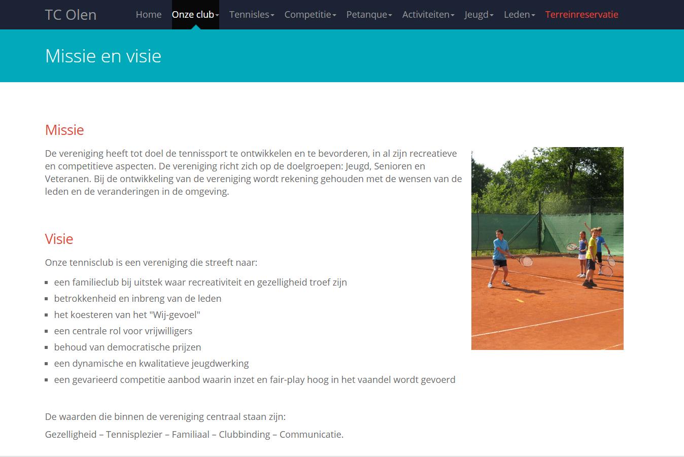 TC Olen website informatie - visie en missie