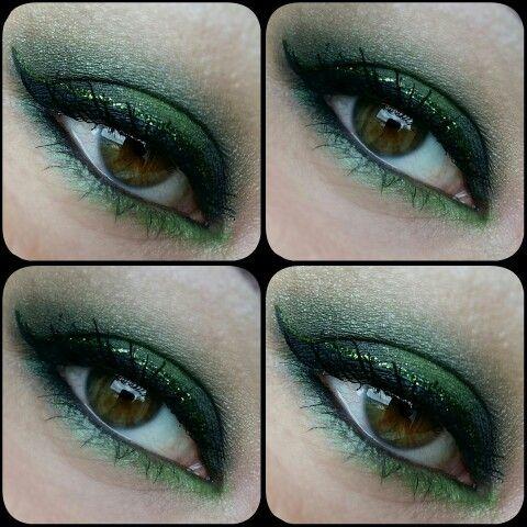 Glitter eye makeup  Green shades , brown eyes ,glitter eyeliner   Make up by Piia Jääskeläinen