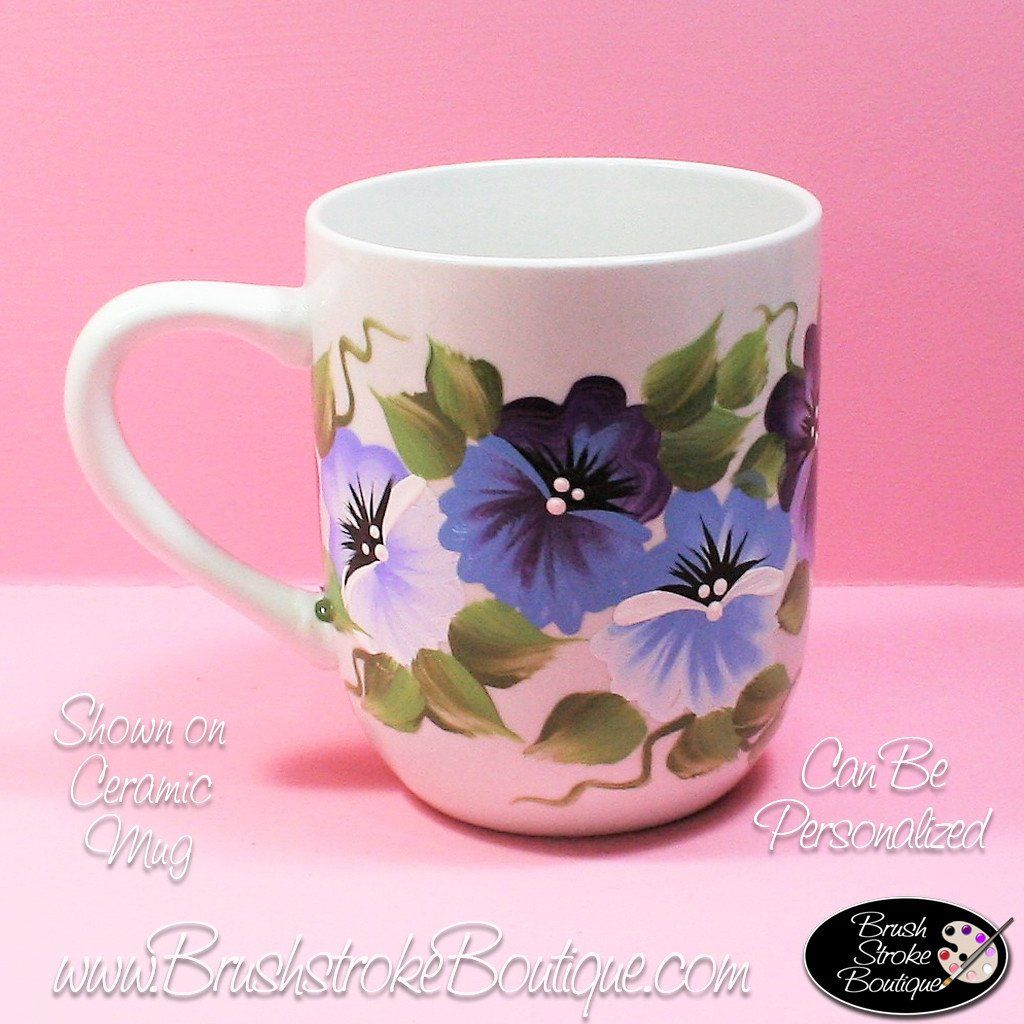 Hand Painted Coffee Mug - Purple Pansies - Original Designs by Cathy ...