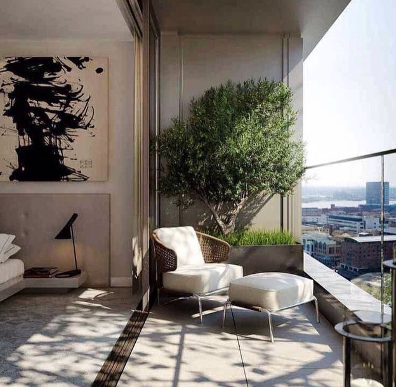 Urban garden planting trough w tree on city view for Balcony living room design