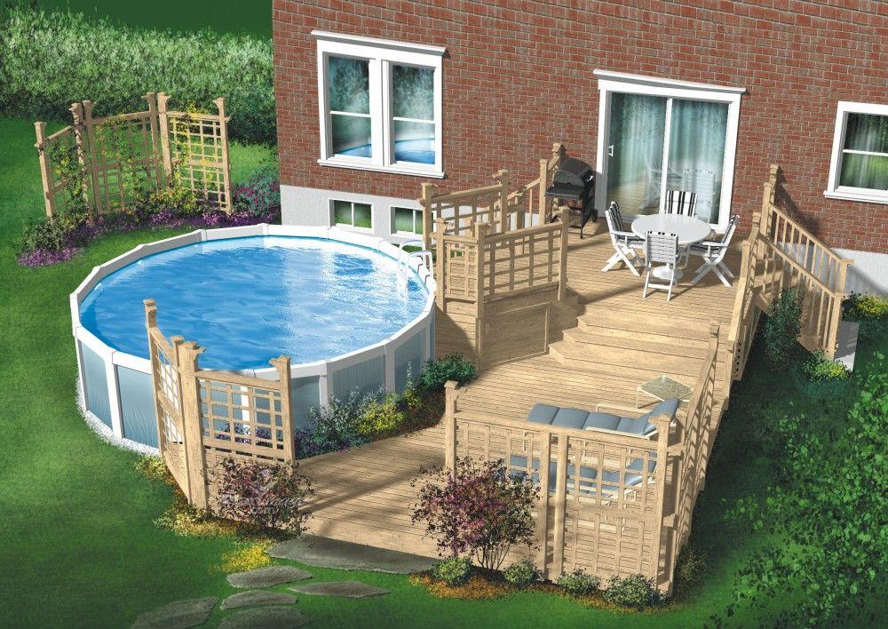 Cette terrasse en bois à trois niveaux est conçue pour une piscine
