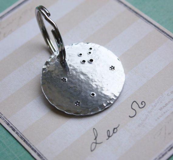 Leo constellation key chain key ring, Leo symbol, Leo sign, leo gift, constellations, male gift, personalized gift, christmas gift, stars