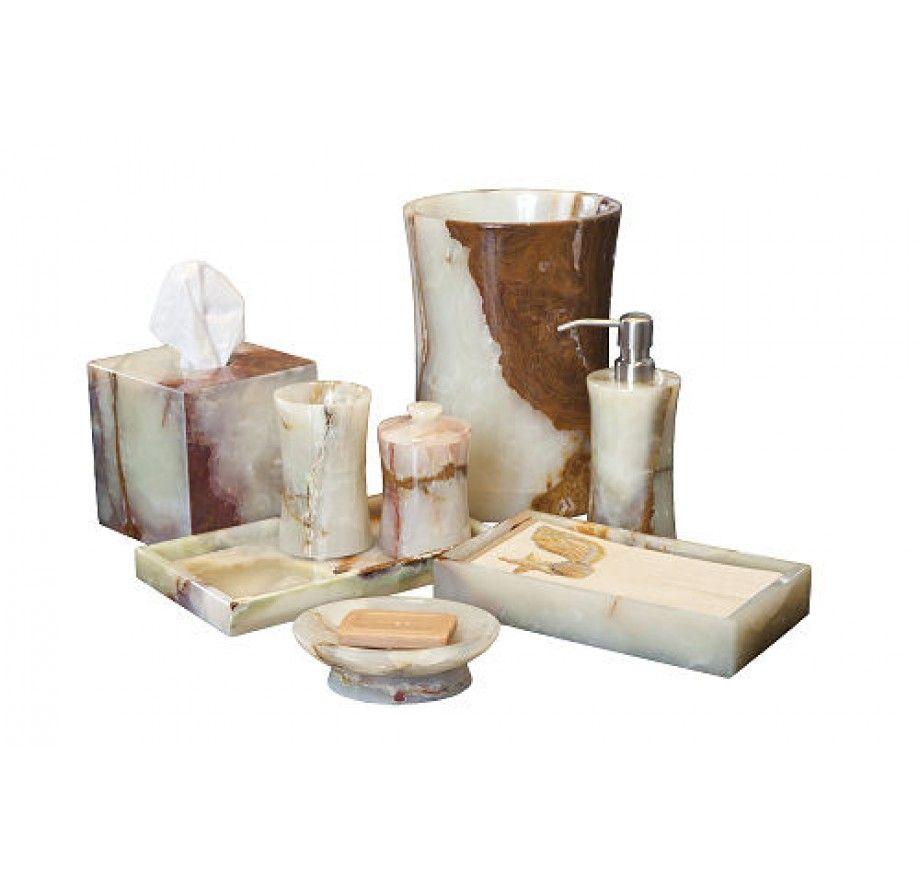 Marblecrafter Vinca Light Green Onyx Bath Collection 8 Pieces