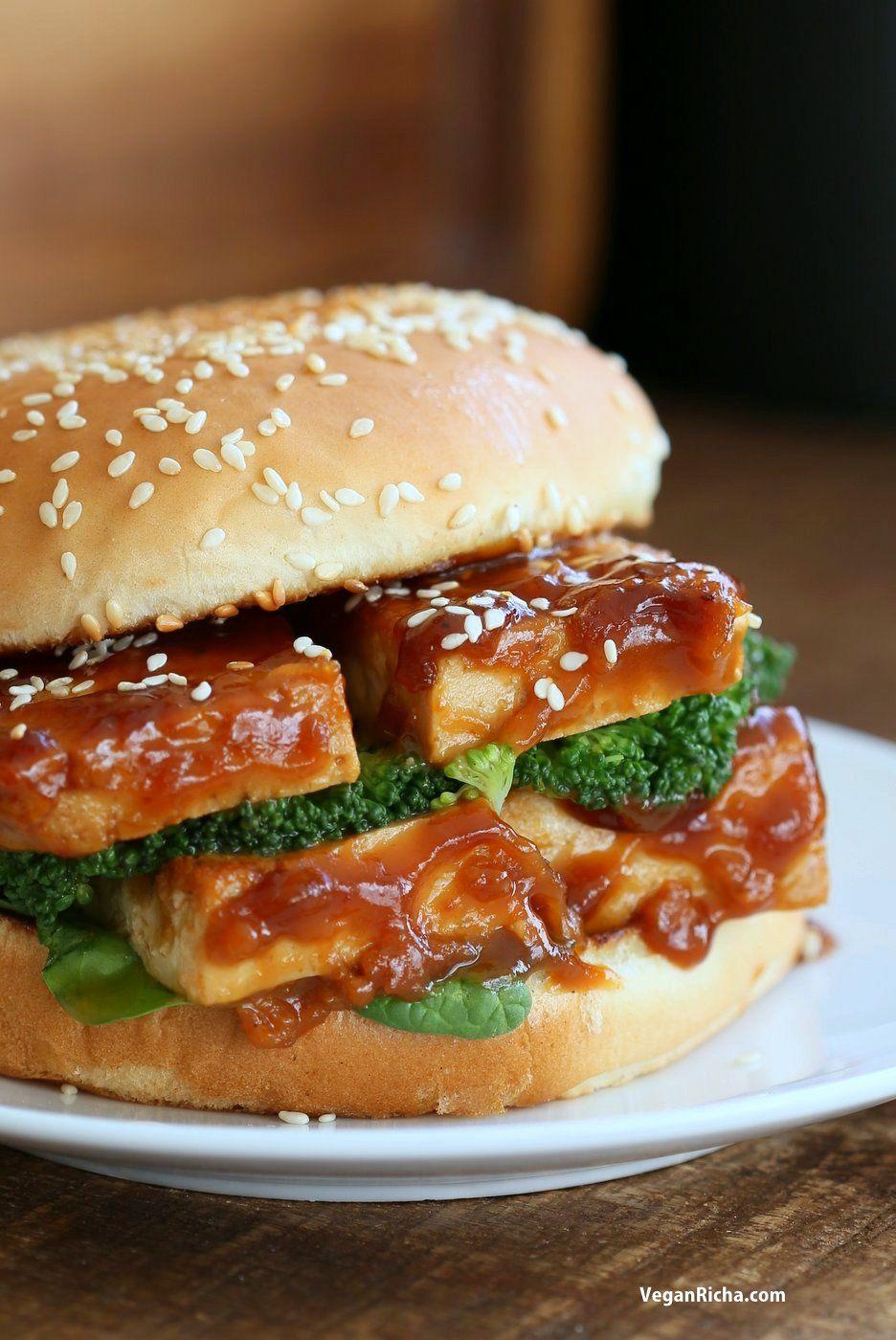 General Tso's Tofu Sandwich. Vegan General Tso Sauce Recipe. Bake the tofu or pan fry, add blanched veggies and make a sandwich or wrap. Vegan Nut-free Recipe. can be gluten-free with gf buns or wrap. | VeganRicha.com