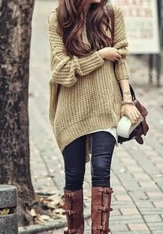 Fashion And Style: Adorable handwoven oversize sweater and long neck boots