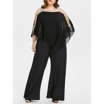 bac6fee7fb95 Free shipping 2018 Plus Size Ladder Cut Out Capelet Jumpsuit BLACK X under   29.51 in Jumpsuits   Rompers online store. Best Culotte Jumpsuit and Plus  Size ...