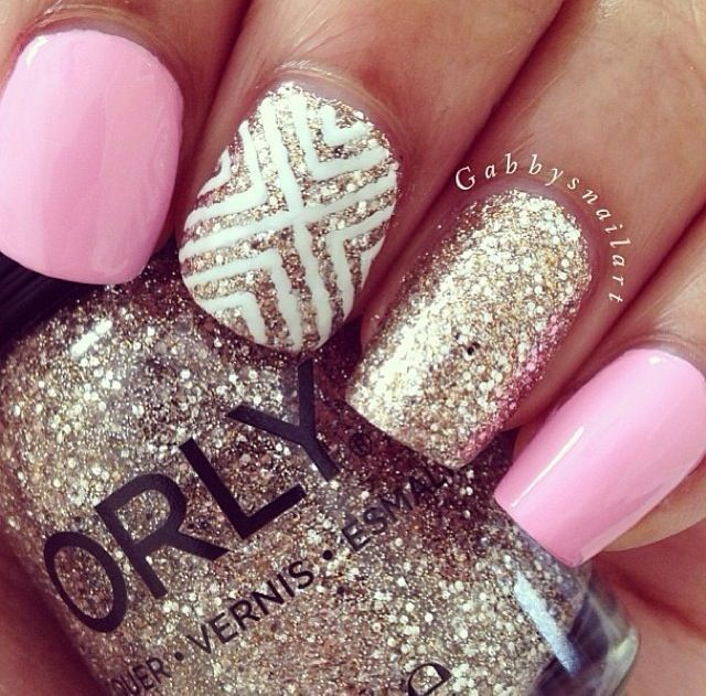 Pink Gold And White Nails