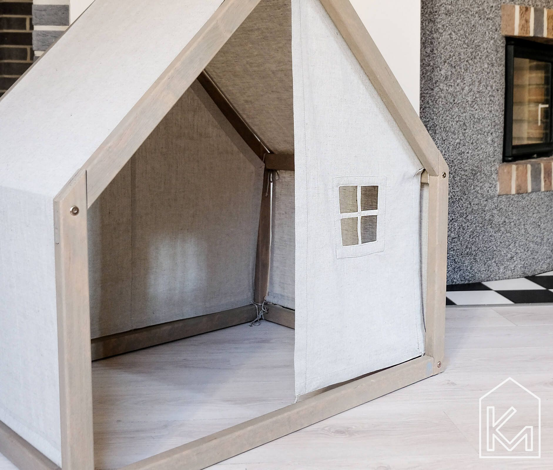 Modern Dog House With A Front And Back Linen Cover Indoor Dog Bed Pet House Pet Bed Pet Design Furniture Dog Bed House House Bed Modern Dog Houses Indoor Dog Bed