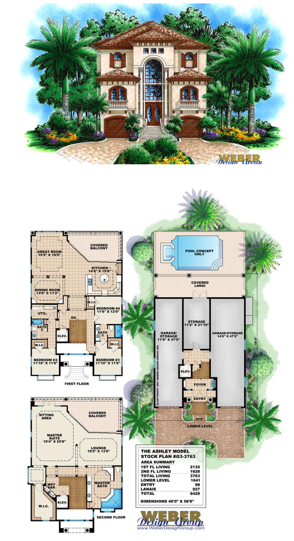 Mediterranean House Plan Coastal Narrow Lot Beach Home Floor Plan Mediterranean Style Homes Beach House Floor Plans Mediterranean Homes