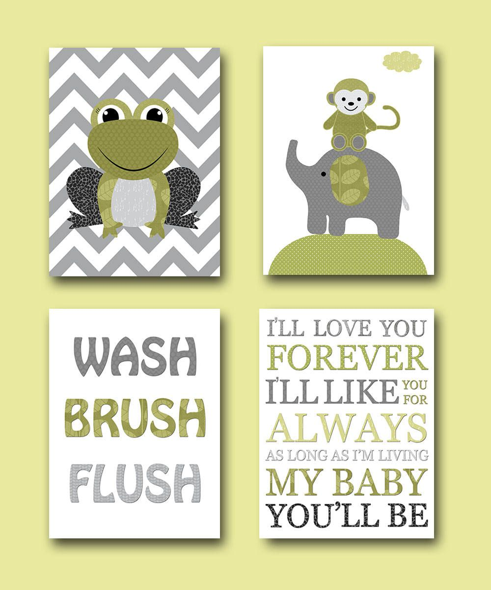 Gray Green Frog Monkey Elephant Boy Nursery Quotes Wash Brush Flush ...