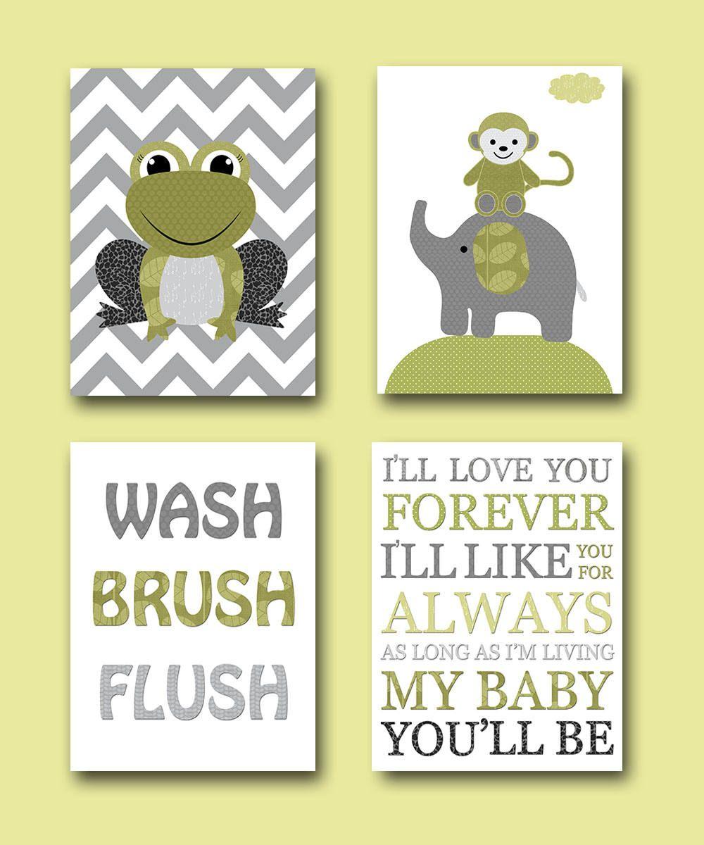 Gray Green Frog Monkey Elephant Boy Nursery Quotes Wash Brush Flush ...