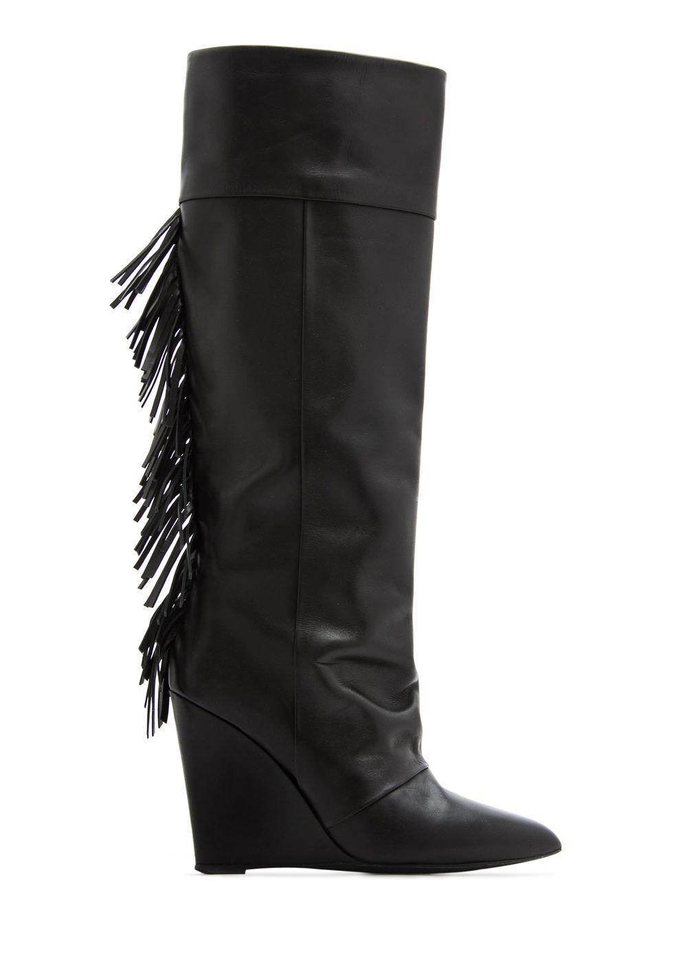 Femme Chaussure Cuir Bottes Talons Franges Talon Et Mango qzXzPEtn