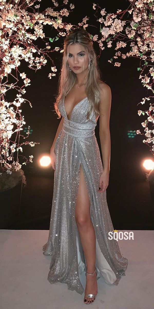 A-line V-neck Spaghetti Straps Silver Sequins Sparkle Prom Dress with Slit QP1364
