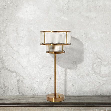 Modern double tiered gem table lamp in brushed brass arhaus furniture