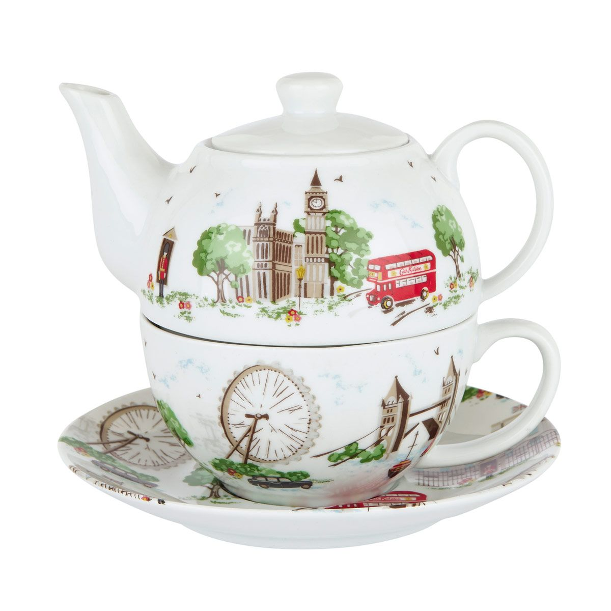 Teapot With Cup Cath Kidston 1958 British London Tea For One Teaset