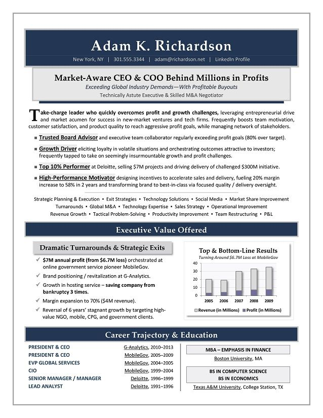 CEO \/ COO Sample Resume - Executive resume writer Sacramento - resume for executives