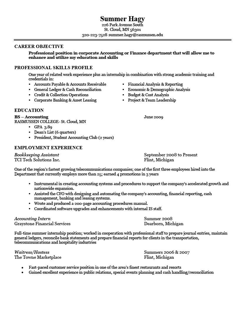 Resumes Examples Good Resume Examples Career Objective Professional Skills Profile