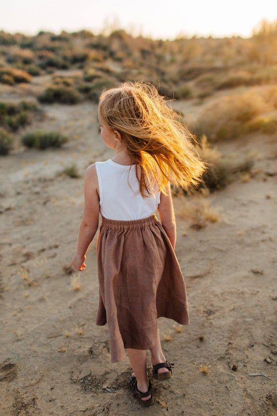 Linen Skirt, Girls Skirt, Button Front Skirt, Twirl Skirt, Tan Linen, Suspenders Skirt, Girls Linen Skirt, Kids Linen Clothing, Washed Linen #twirlskirt Linen Skirt Girls Skirt Button Front Skirt Twirl Skirt Tan | Etsy #twirlskirt