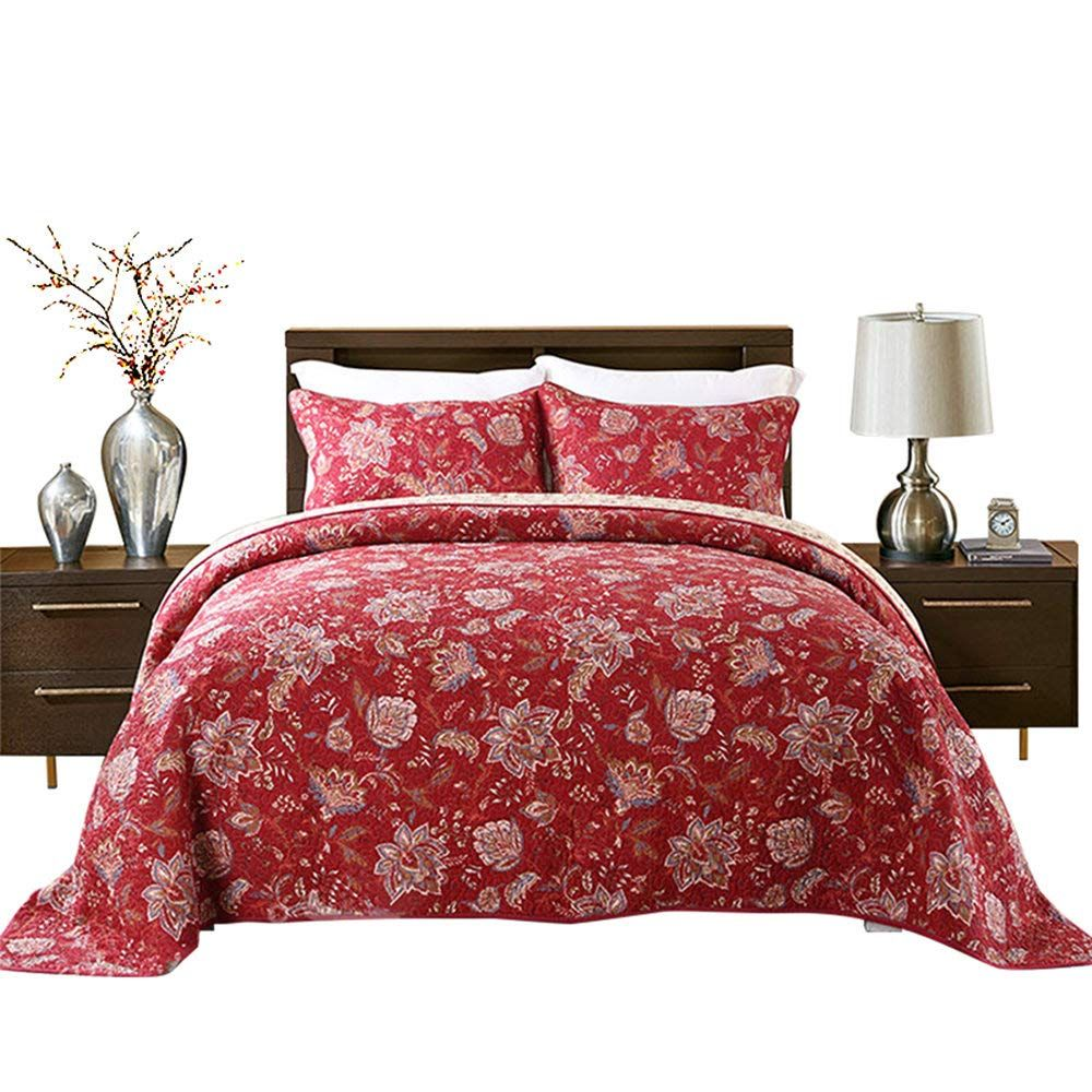 Hnnsi 3 Pieces Quilt Comforter Sets Queen Size 3 Pcs Red Flower Patchwork Cotton Bedspread Comfy And Soft Beddi Queen Comforter Sets Red Bedspread Bed Spreads