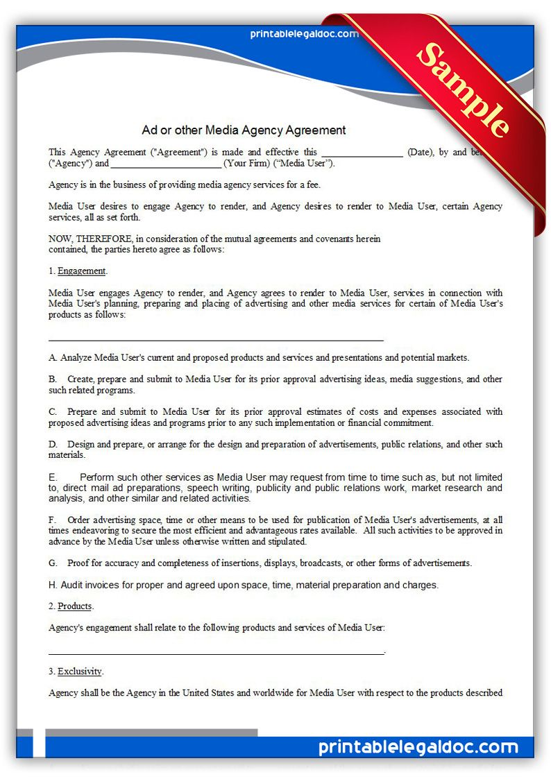 Free Printable Ad Or Media Agency Agreement | Sample Printable Legal Forms