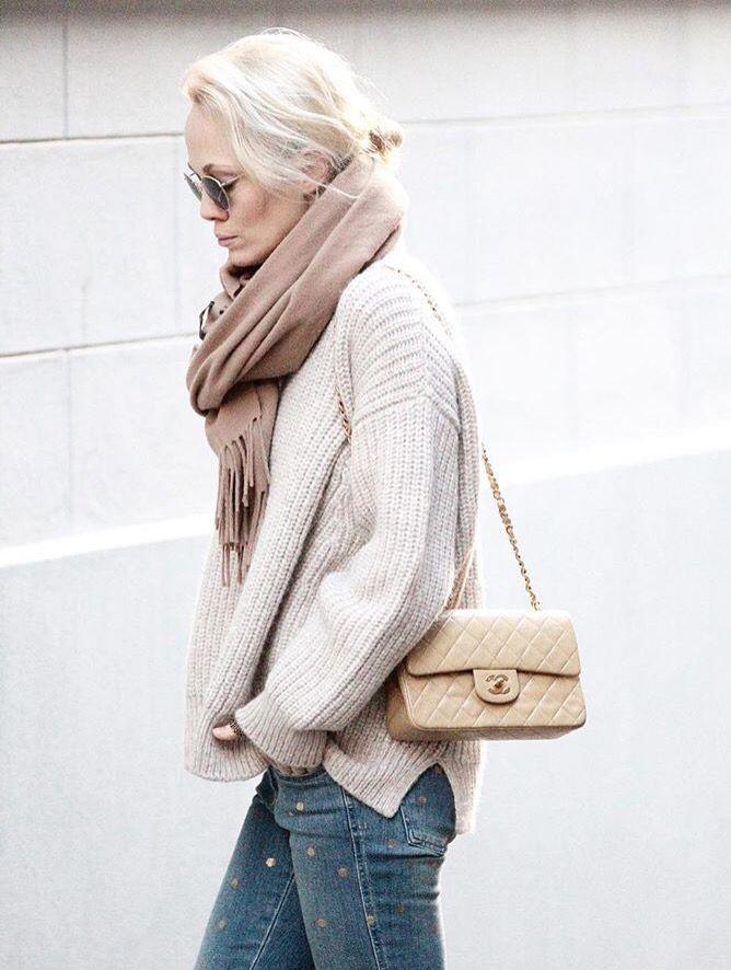 ba7aeb3b3962 Neutrals ❤ casually styled Chanel medium classic flap in beige ...