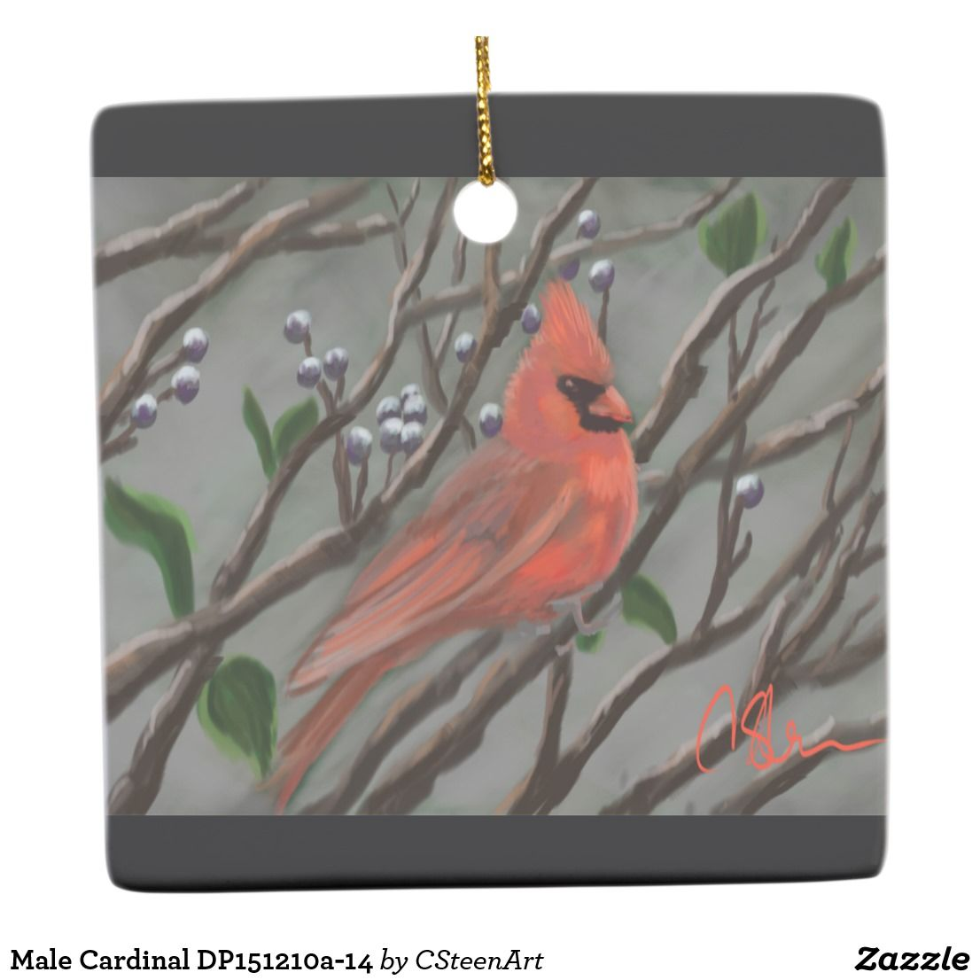 Male Cardinal DP151210a14 Christmas artwork, Keepsake