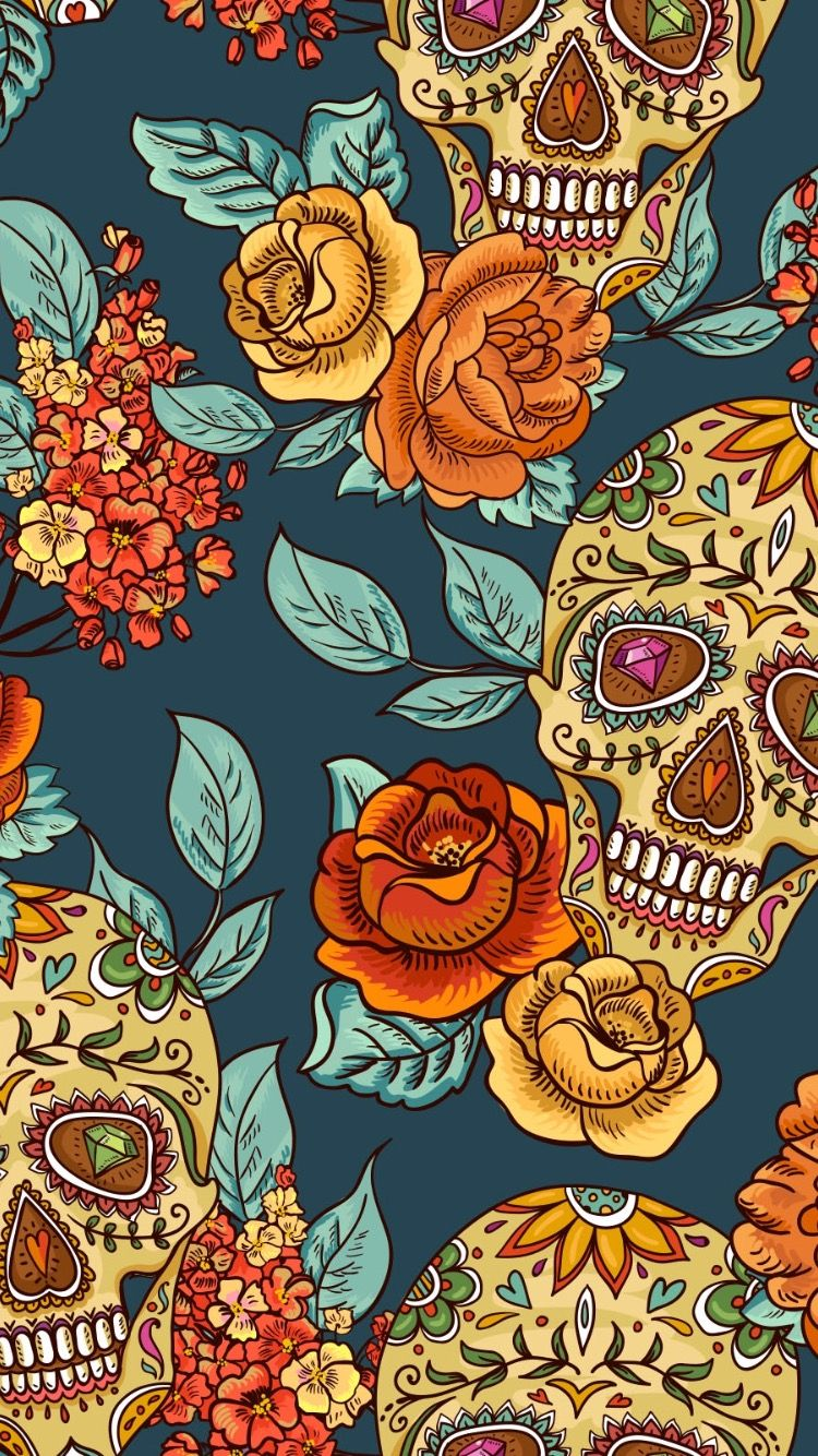 Pin By Meat Eating Orange On Wallpapers For My Phone 3 Skull Wallpaper Art Wallpaper Skull Art