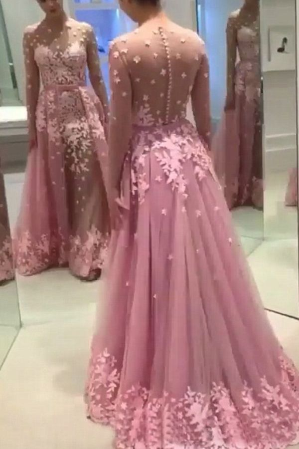 88037f0dc9a A-line Bateau Long Sleeves Illusion Back Rose Pink Long Prom Dress with  Appliques