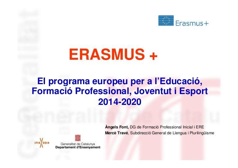 Erasmus+ - Presentació als Serveis Territorials d'Ensenyament a Girona