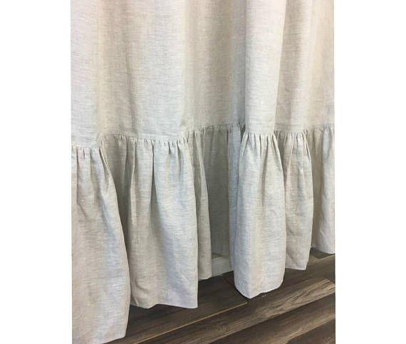 Natural Linen Shower Curtain With Mermaid Long Ruffles Medium Weight Undyed Custom Sh