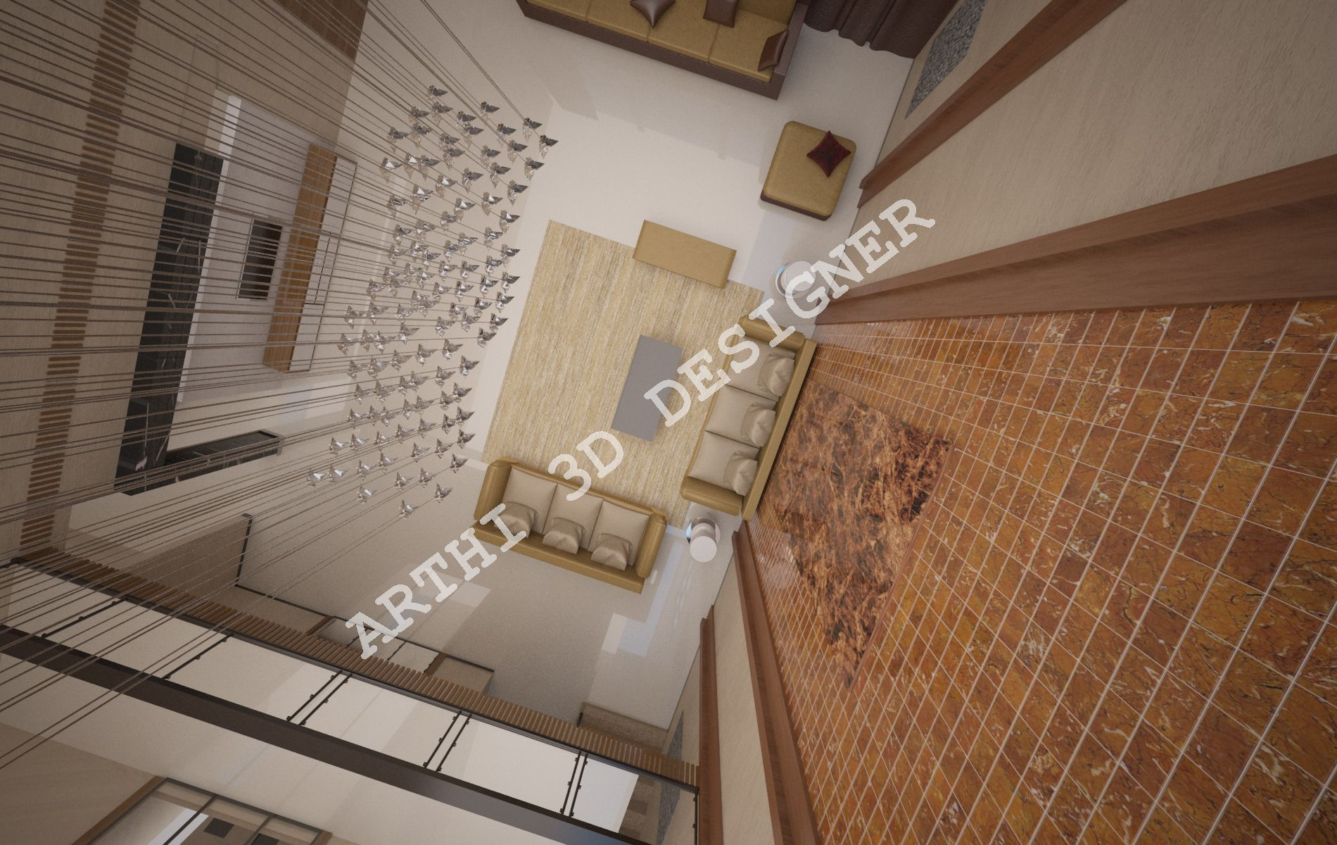 Realistic 3d Architectural Modular Living Room Design Top View