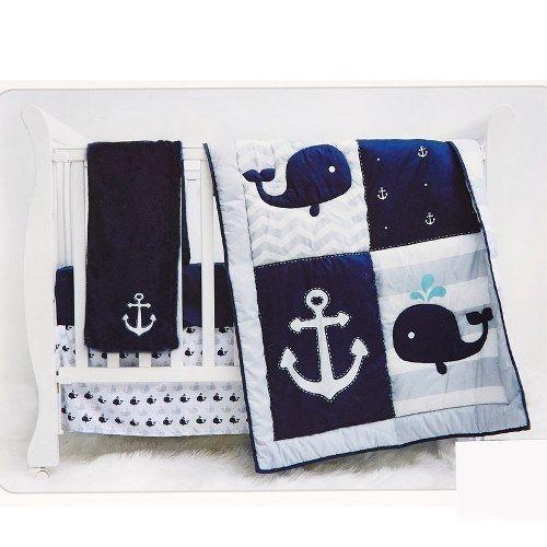 Baby: Manhattan Kids 4Pc Crib Set Nautica Anchor Chevron Whale Boy Baby New BUY IT NOW ONLY: $99.99