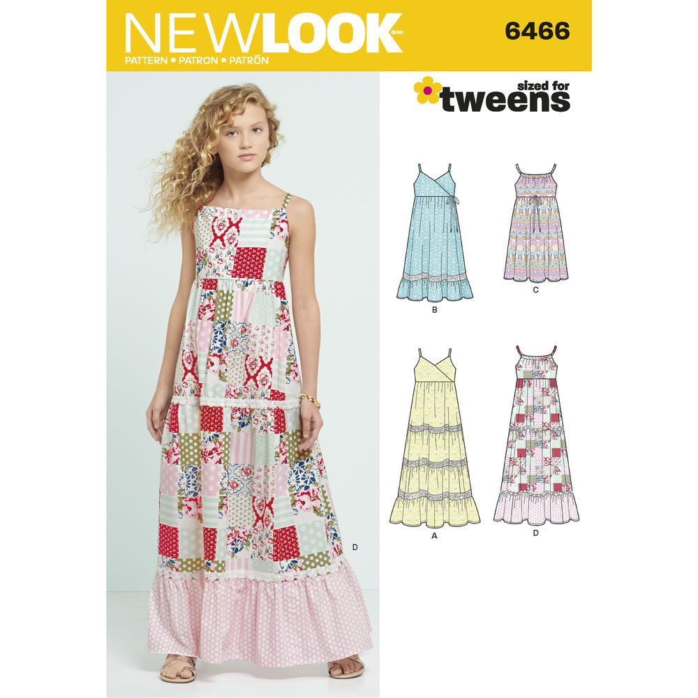 6466 girls dresses with trim bodice and lace variations 4th of new look pattern 6466 girls dresses with trim bodice and lace variations jeuxipadfo Choice Image