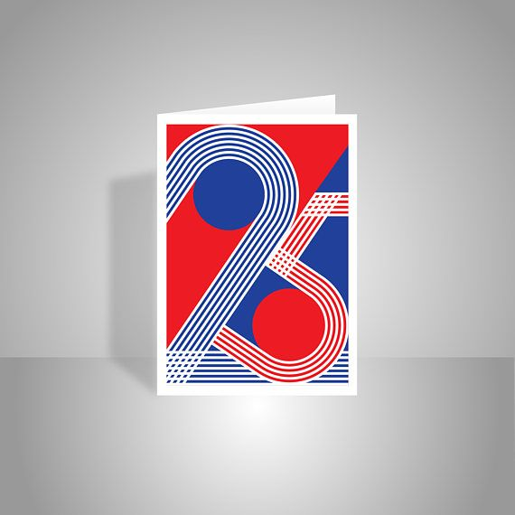 25th Happy Birthday Card For Boy For Girl Red White Blue Patriotic