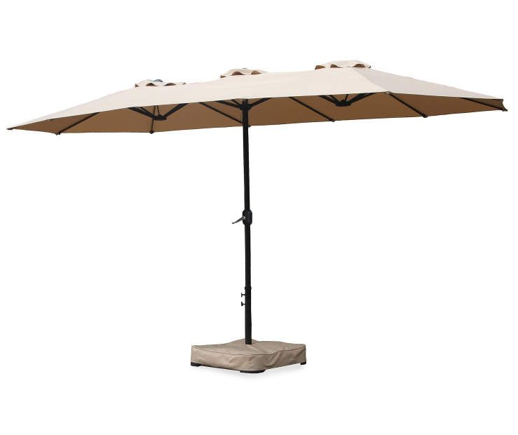 Tan Double Top Market Patio Umbrella With Base, (15u0027) At Big Lots