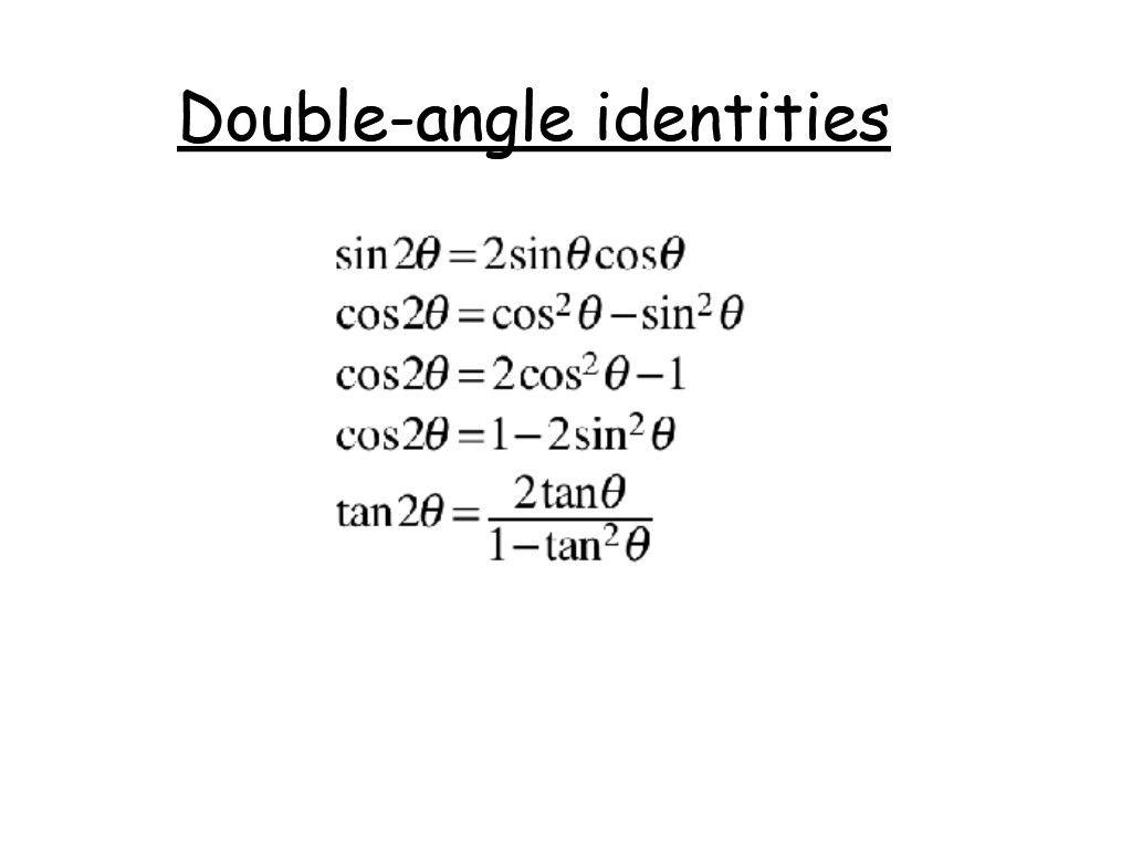 Double Angle Identities Free Math Help Trigonometry Help Writing Linear Equations