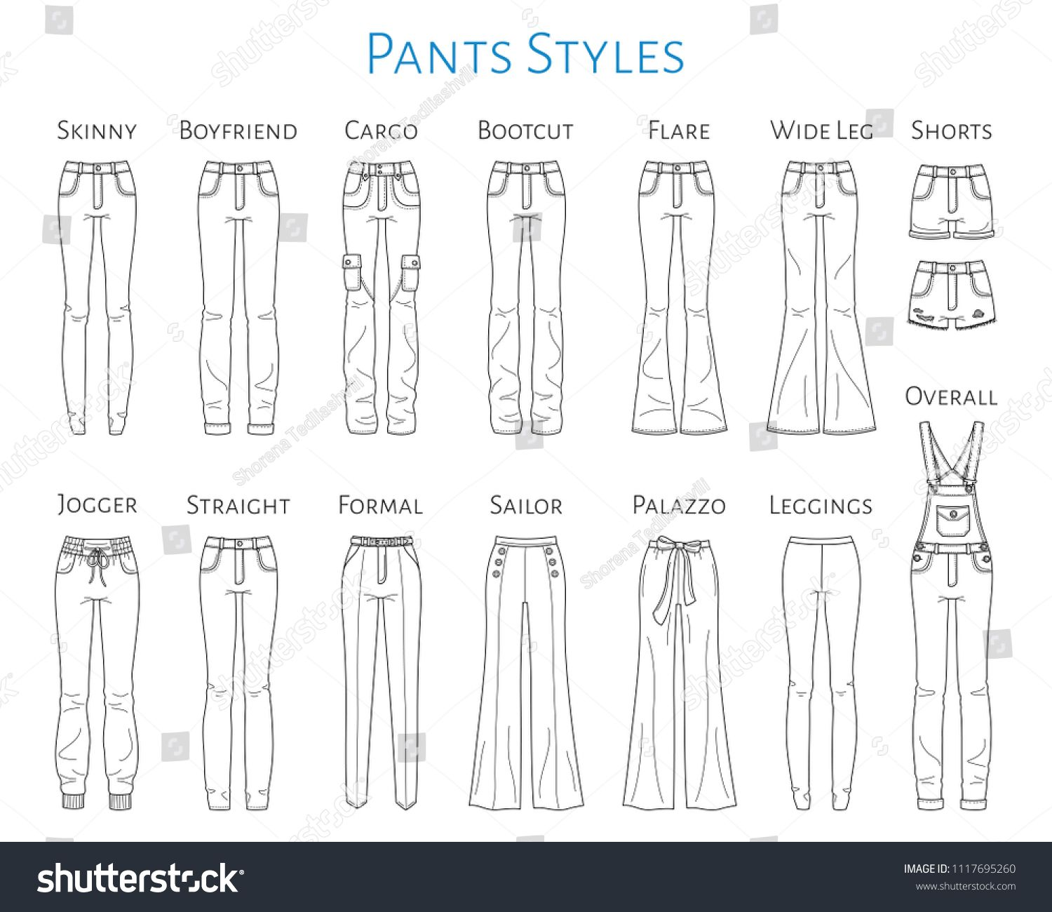 Women S Pants Collection Vector Sketch Illustration Different