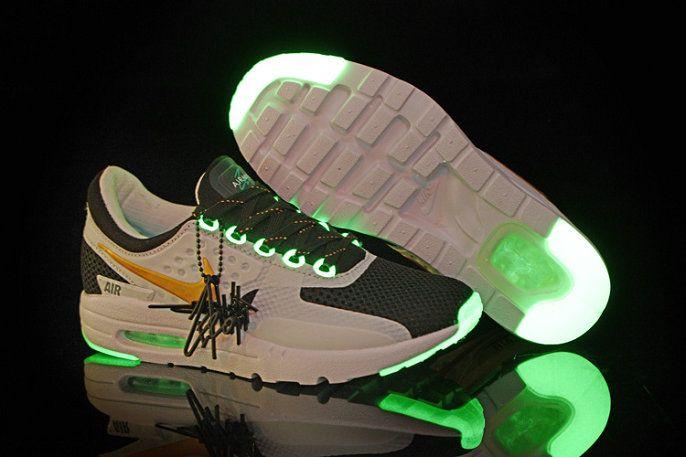 best deals on b72c2 40d54 Shop Men Nike Air Max Zero Glow In The Dark Black White Gold Green Glow