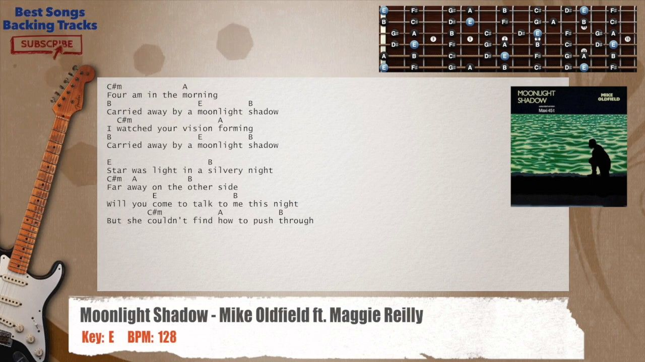 Moonlight Shadow Mike Oldfield Ft Maggie Reilly Guitar Backing