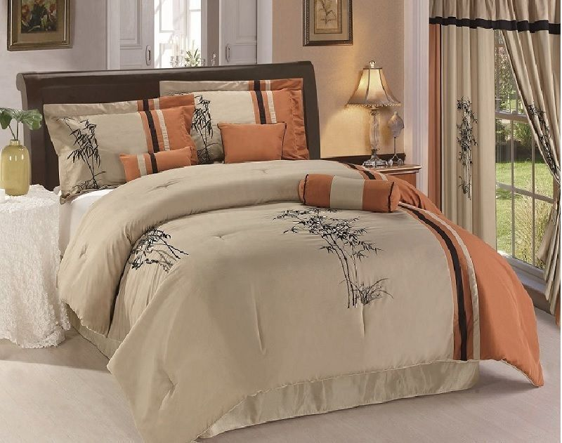 Luxury 8 Piece Asian Inspired Bamboo Embroidered Comforter Set New.