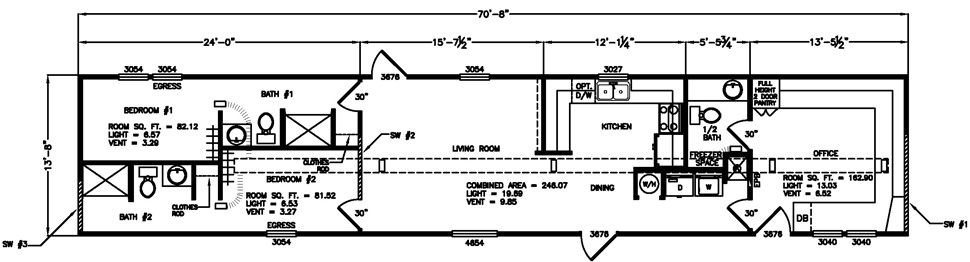 Oil Field Polk 2 Bed 2.5 Bath 14x70 Oilfield, Double