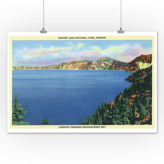 Crater Lake National Park, OR - Aerial View of Lake Looking towards Enchantment Bay (Art Prints, Wood & Metal Signs, Canvas, Tote Bag) #craterlakenationalpark