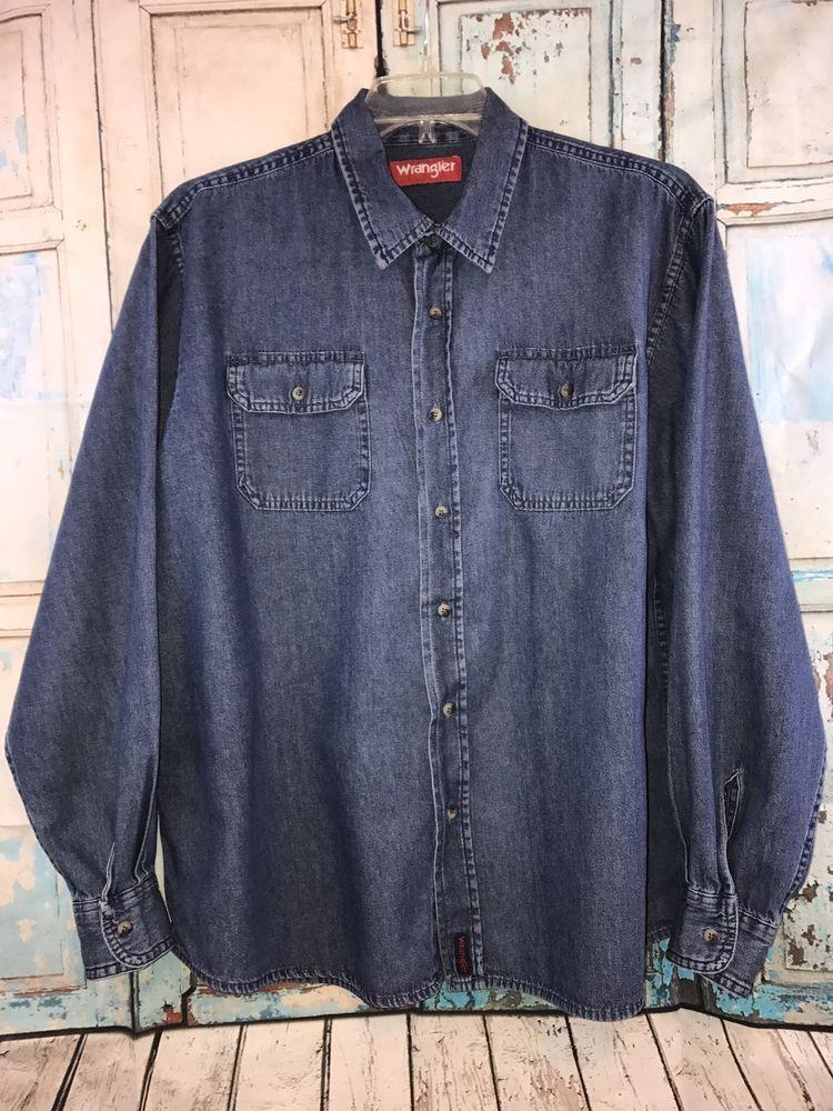 fc5c864ab2 Vintage Wrangler Blue Denim Long Sleeve Work Shirt Size XL